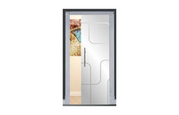"Frameless Pocket Glass Sliding Door and Lines Design, 28""x80"", Opaque, Right"