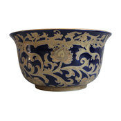 Navy and Gold Porcelain Tapestry Pattern Bowl 10""
