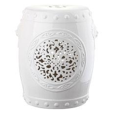 Flower Drum Garden Stool, Antique White