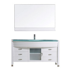 "Ava 55"" Single Bathroom Vanity Set, White, Glass Top, Integrated Basin"