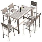 MangoHome - Outdoor Patio Furniture Dining Bar Table Set, 7-Piece Set - Outdoor Patio Furniture New Aluminum 7 PC Dining Bar Table & Barstool Set