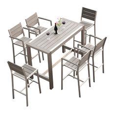 MangoHome - Outdoor Patio Furniture Dining Bar Table Set, 7-Piece Set - Outdoor Dining Sets