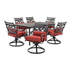 Montclair 7-Piece Dining Set With Swivel Rockers and Dining Table, Chili Red
