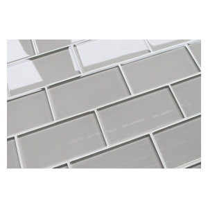 """Country Cottage Light Taupe 3x6 Glass Subway Tile, 3""""x6"""" Tiles, Set of 8"""