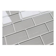 """Country Cottage Light Taupe Glass Subway Tile, 3""""x6"""" Tiles, Set of 8"""