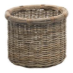 Rattan Kobo Round Log and Storage Basket, Gray