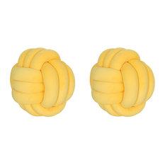 Sade Modern Soft Velvet Triple Halyard Knot Pillows, Set of 2, Yellow
