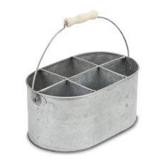 6-Slot Galvanized Metal Garden Caddy