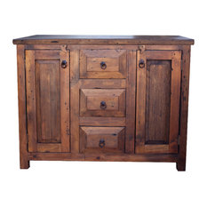"3-Drawer Reclaimed Wood Vanity, Espresso, 48""x22""x36"", No False Drawers"