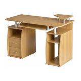 Modern Desk, MDF, 2-Drawer, 4 Open Shelves for Additional Storage, Oak