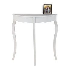 "Accent Table, 31""L, Antique White Hall Console"