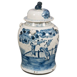 Blue and White Kylin and Boy Motif Porcelain Temple Jar, 19""