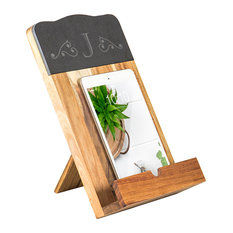 Cathyu0027s Concepts   Personalized Slate U0026 Acacia Tablet Recipe Stand, J    Cookbook Stands And