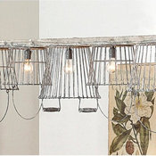Rustic Wire Basket and Wood Chandelier