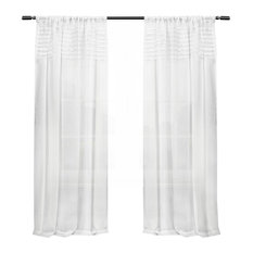 Exclusive Home Barcelona Sheer Window Curtain Panel Pair, 50x108, White