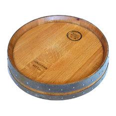 alpine wine design banded barrel top lazy susan with cooperage stamp golden oak alpine wine design outdoor finish wine barrel