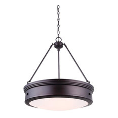 Canarm Boku 4-Light Chandelier With Flat Opal Glass, Oil Rubbed Bronze Finish