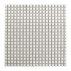 SomerTile  Fioretti Glossy Blanco Ceramic Mosaic Floor and Wall Tile, Case of 10