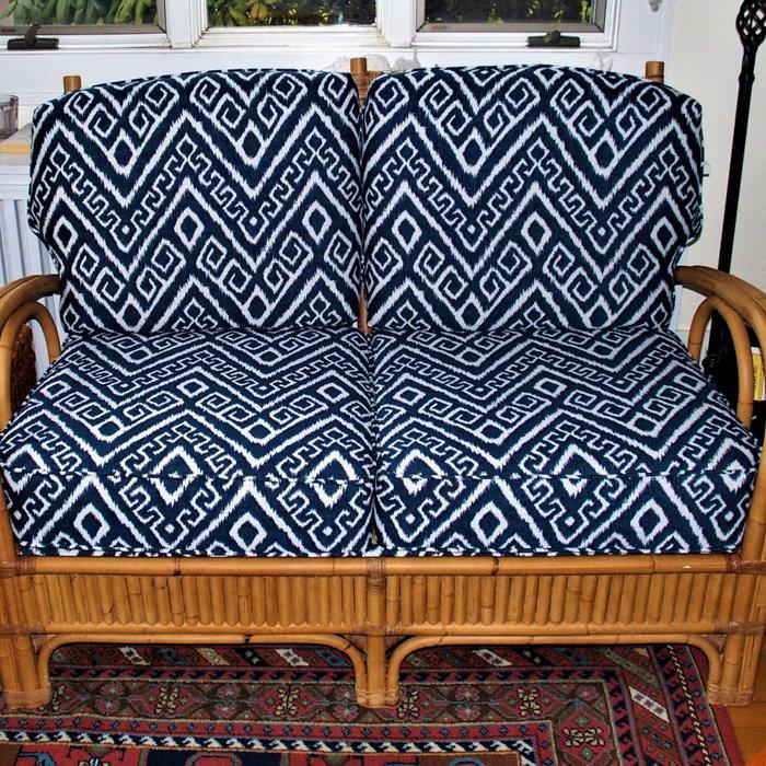 Upholstered bamboo loveseat