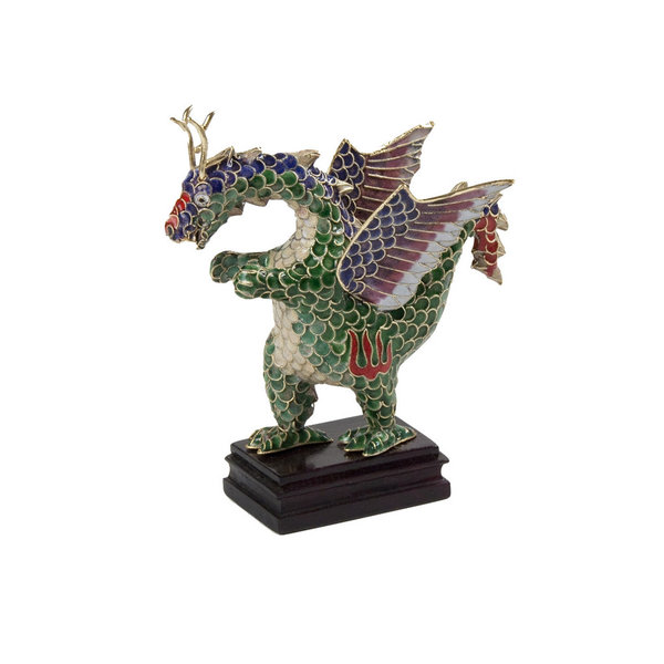 Cloisonne Flying Dragon Figurine on Wood Stand