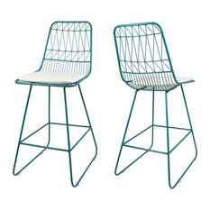 """GDF Studio Lilith 26"""" Seats Iron Counter Stools With Cushion, Teal, Set of 2"""