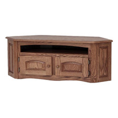 Solid Oak Country Style Corner TV Stand With Cabinet 53-inch Hickory