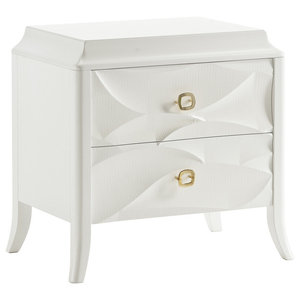 Bedside Table With 2 Drawers and Leaf Decor