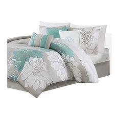 Sateen Printed 7Cps Comforter Set, Aqua, Queen