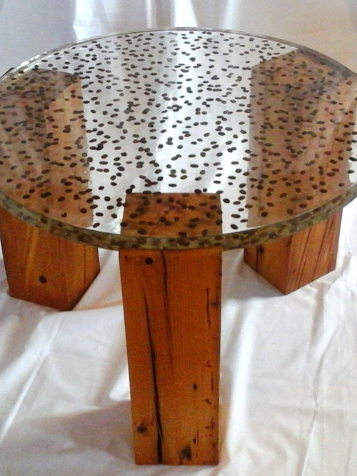Decorganic Resin Table Tops With Natural Embedments