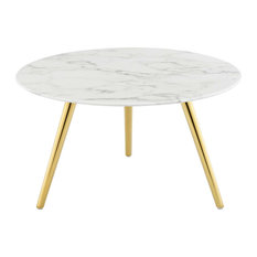 Faux White Marble Coffee Table Round Coffee Table Glam Luxe Accent Table 28-inch