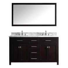 "Caroline 60"" Double Bathroom Vanity Set Espresso, Marble Countertop"