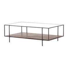 Byron Coffee Table, Gunmetal, Aged Brown, Tempered Glass