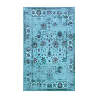 Traditional Printed Persian Overdyed Floral Rug, Turquoise, 5