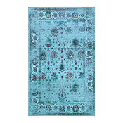 Traditional Printed Persian Overdyed Floral Rug, Turquoise, 9'x12'