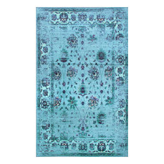 Traditional Printed Persian Overdyed Floral Rug, Turquoise, 5'x8'