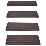 Dean Flooring Company - Peel and Stick Non-Skid Bullnose Carpet Stair Treads, Cobbler Brown, Set of 14 - Bullnose Peel and Stick Wraparound Non-Skid Carpet Stair Treads!
