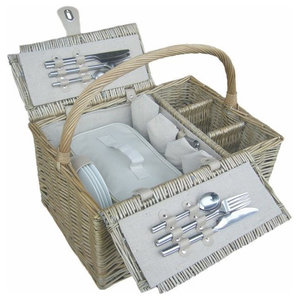 Deluxe Retro Double Lidded Wicker Fitted Picnic Basket, 4 Person