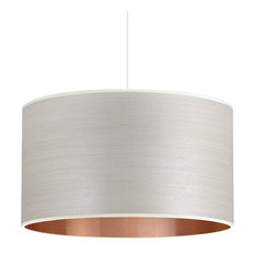 Silver Birch and Copper Wood Veneer Drum Lampshade, 30 cm