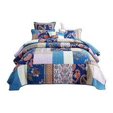 Paisley Night Bohemian Reversible Cotton Patchwork Reversible Quilt, Cal King