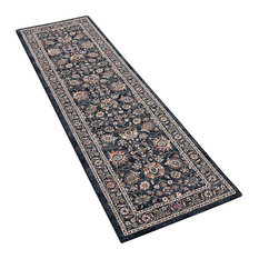 Da Vinci Dark Blue Runner Traditional Rug, 67x230 cm