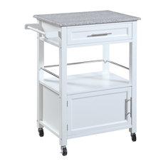 Mitchell Kitchen Cart With Granite Top 24.02W X 17.99D X 36.02H White