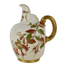 Antique Royal Worcester Porcelain Flat Back Pitcher, 1890