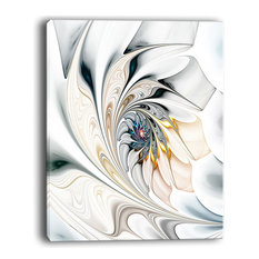 """Design Art USA - """"White Stained Glass Floral Art"""" Floral Wall Art Canvas, 30""""x40"""" - Prints and Posters"""