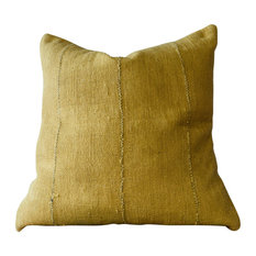 Bryar Wolf - Ata Decorative Pillow, Authentic Mustard Color African Mud Cloth - Decorative Pillows