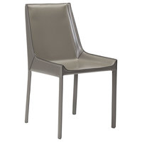Modern Contemporary Kitchen Room Dining Chair, Gray Gray, Leather Stone Set of 2