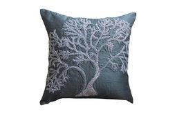 """Beaded Gray Tree Dark Gray Euro Shams, Art Silk 26""""x26"""" Euro Shams, Starry Tree"""