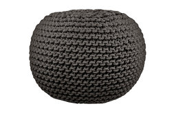Round Cable-Knit Pouf, Gray