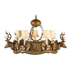 5 Small Stag Head Chandelier, Faux Leather Shades, 5-Light