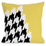 """One Bella Casa - """"Harry Half Houndstooth"""" Outdoor Throw Pillow by OneBellaCasa, 18""""x18"""" - Add a great conversation piece with this bright and fun outdoor throw pillow that will surely liven up any space!"""