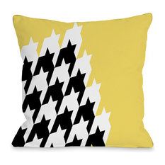 """Harry Half Houndstooth"" Outdoor Throw Pillow by OneBellaCasa, 18""x18"""